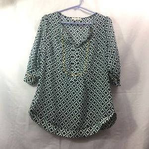 41 Hawthorn Size M Blue 1/2 Sleeve Sheer Top